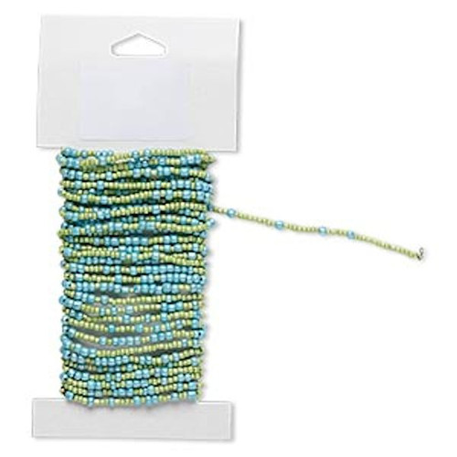 15 Feet Turquoise Light Green Pre-strung Glass Seed Bead