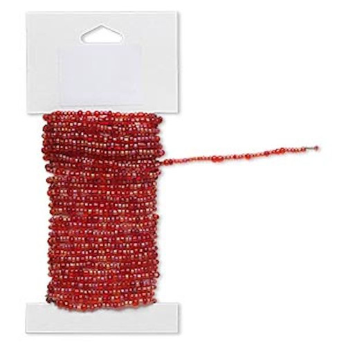 15 Feet Transparent Rainbow Red Pre-strung Glass Seed Bead