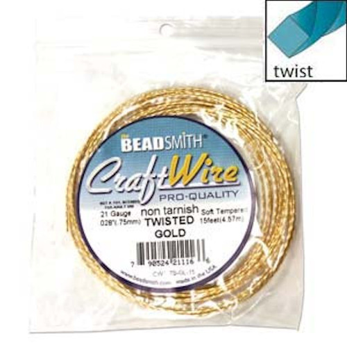 15 Feet Non Tarnish Gold Plated Copper Twisted Square Wrapping Wire ~ 21 Gauge