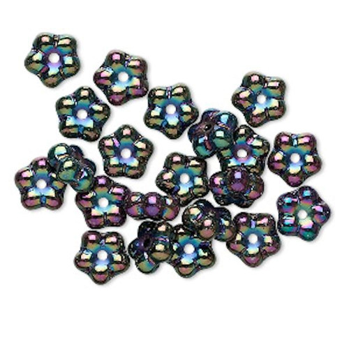 1 Strand Czech Pressed Glass Iris Purple 7x4mm Flower Spacer Beads *