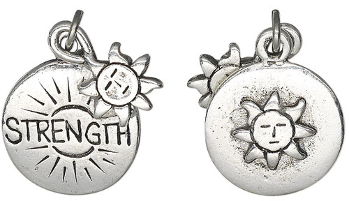1 Antiqued Silver Plated Pewter Double Sided Sun & STRENGTH Charm