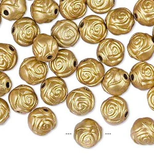 100 Metallic Gold Acrylic 8mm Round Rose Flower Beads