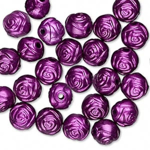 100 Metallic Dark Purple Acrylic 8mm Round Rose Flower Beads