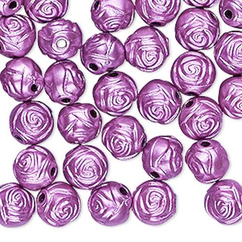 100 Metallic Light Purple Rose Acrylic 8mm Round Rose Flower Beads