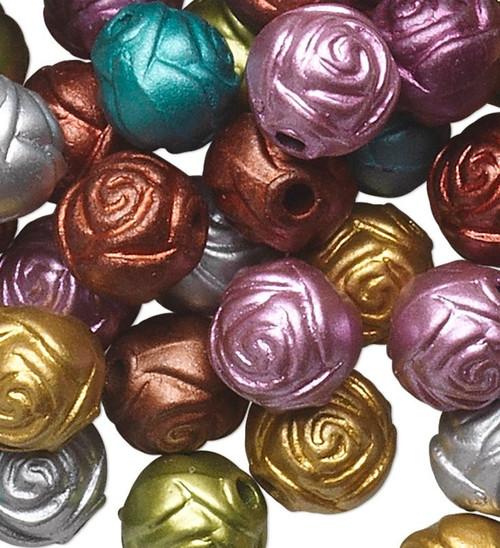 100 Assorted Metallic Acrylic 8mm Round Rose Flower Beads