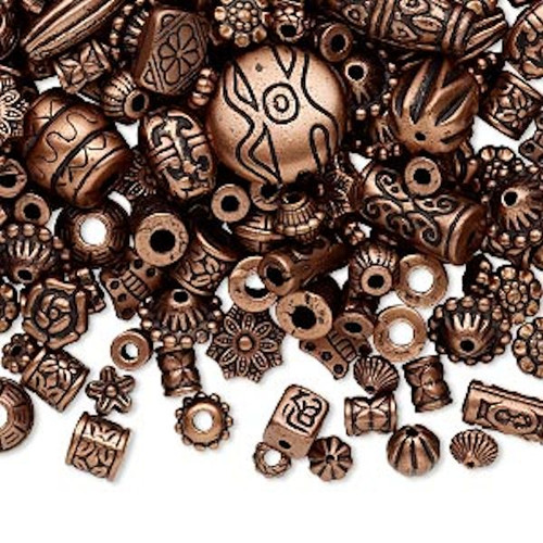 250 Grams Antiqued Copper Finished Plastic Tribal Beads ~ 1,300 Beads