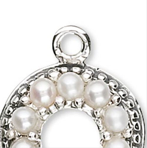1 Antiqued Sterling Silver 11mm Round With Ten 2mm Pearls Charm *