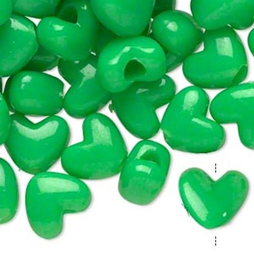 1000 Acrylic 12x10mm Heart Shaped Bright Green Pony Beads with 4mm Hole *