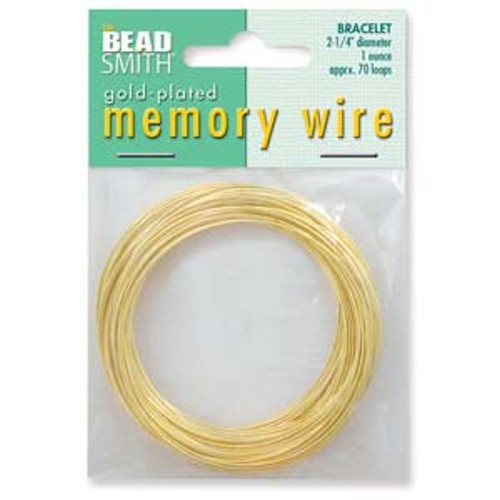 """1 Ounce Gold Plated 2 1/4"""" Round Memory Wire Bracelets ~ 70 Loops"""