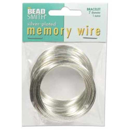 """1 Ounce Silver Plated Stainless Steel 2"""" Round Memory Wire Bracelets ~ 70 Loops"""
