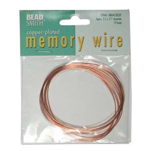 """12 Loops Copper Plated Stainless Steel 2.2x2.7"""" Oval Memory Wire Bracelets *"""