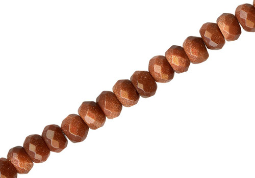 1 Strand Brown Goldstone Manmade 6x4mm Faceted Rondelle Gemstone Beads