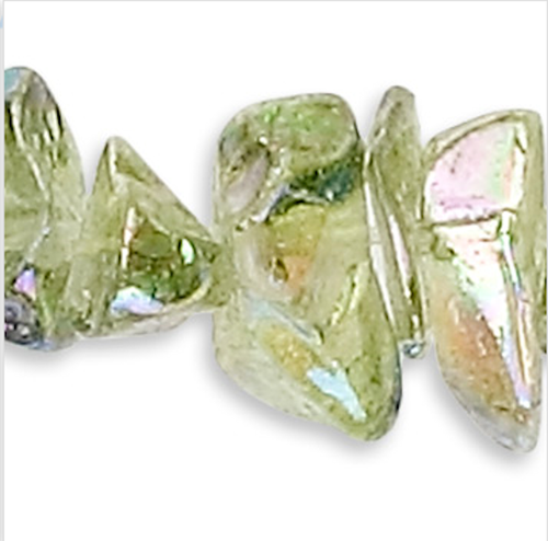 "34"" Strand Aurora Borealis Peridot Green Glass 4-9mm Chip Beads"