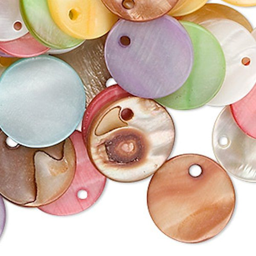 100 Grams (120) Mother of Pearl Shell 15mm Flat Round Coin Drop Charm MIX