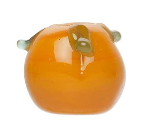 8 Lampwork Glass Orange 12x13mm Pumpkin with Leaves Halloween Beads
