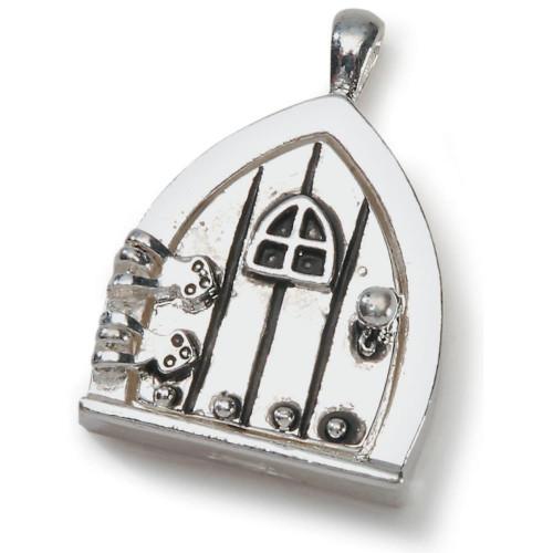1 Antiqued Silver Fairy Door for Wishes Charm ~ Door Opens