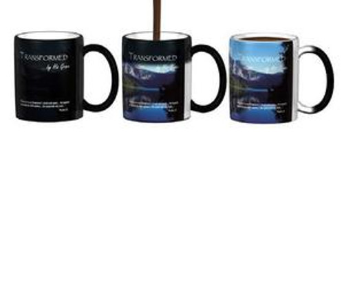 "Psalms 23 ""The Lord is my Shepherd""  Our Transformation Mugs are awesome. First, they're black. When you add your hot liquid - tea, coffee, hot chocolate, etc.  the beautiful scene shows that coordinates with the Bible verse. Usually ships within 7 business days."