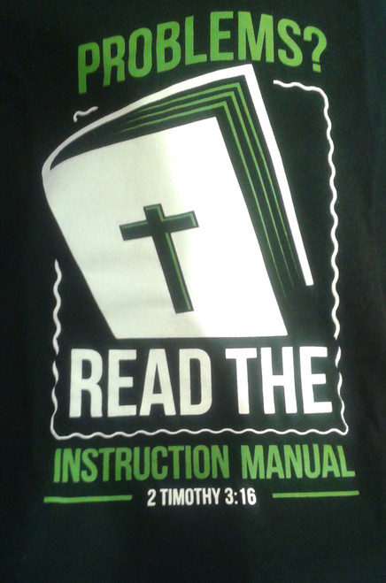 Black tee. R 1 16 (I'm not ashamed of the Gospel of Christ) logo on the sleeve.