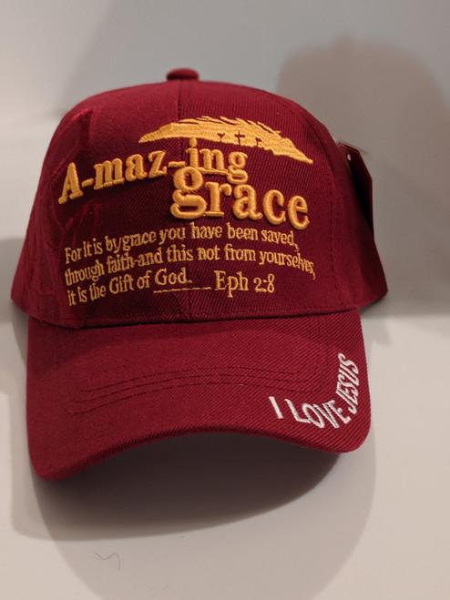 Amazing Grace Burgundy Cap