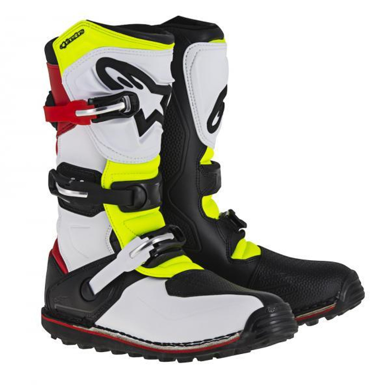 Alpinestars Tech T boots in white/ red/ fluo yellow