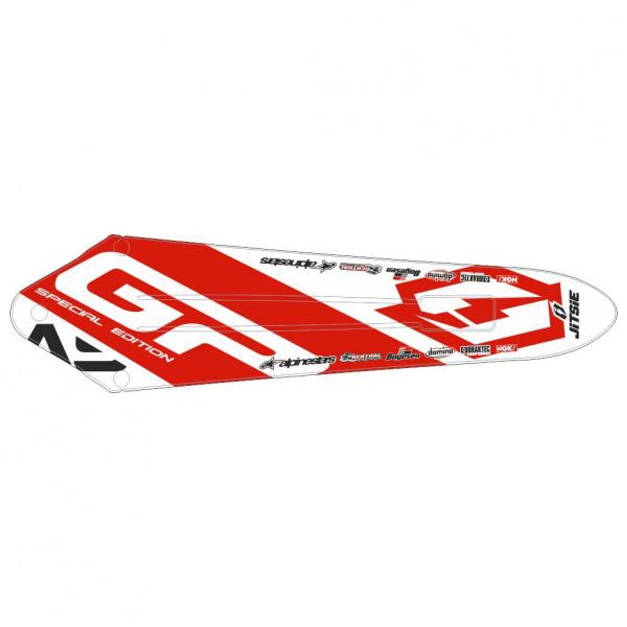 Rear Mud guard Sticker-Gas Gas Pro/Racing/Raga/Factory 11-18, white/red