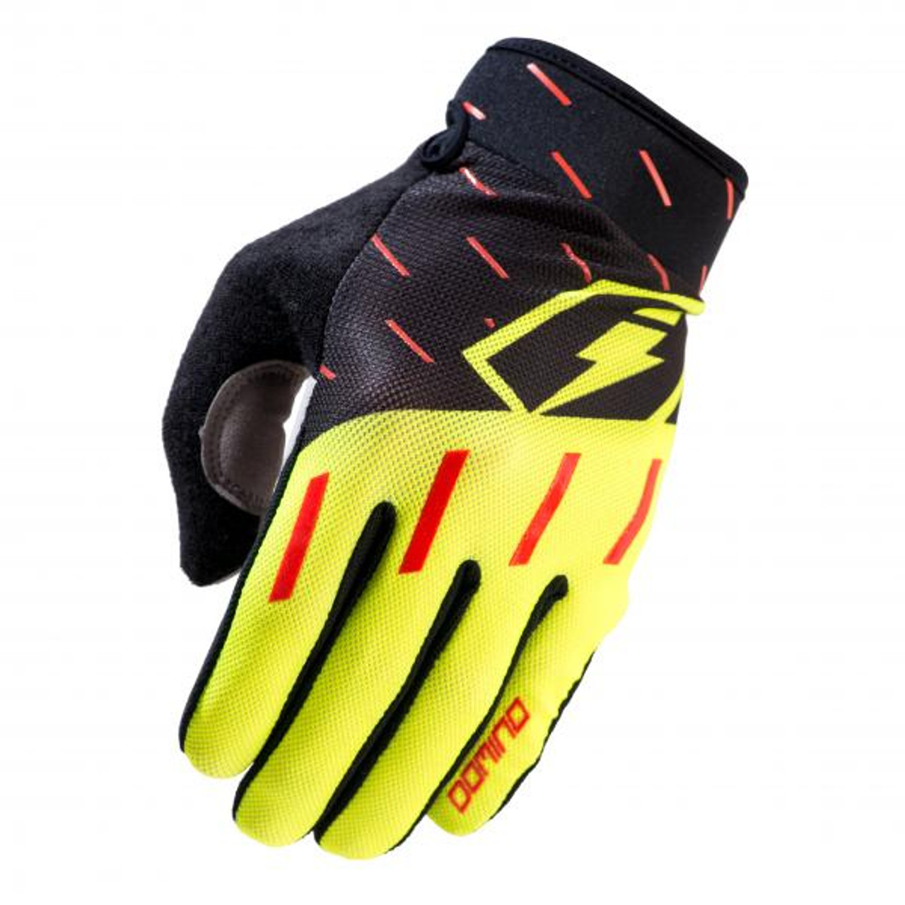 Gloves Domino, black/ red/ fluo yellow