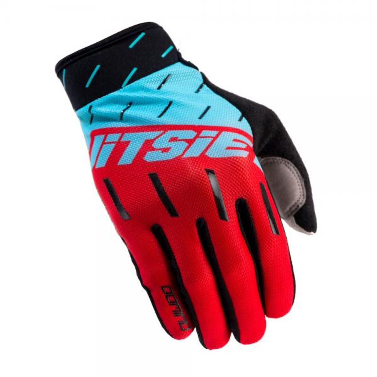 Gloves Domino, black/ red/teal