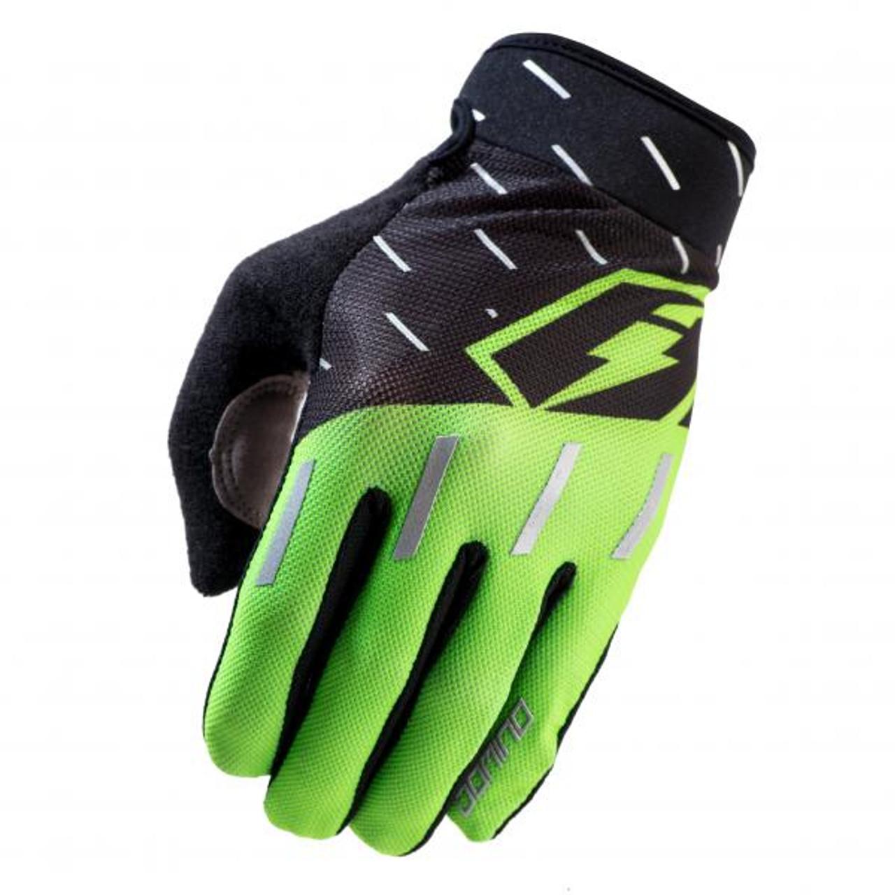 Gloves Domino, black/ fluo green/ silver