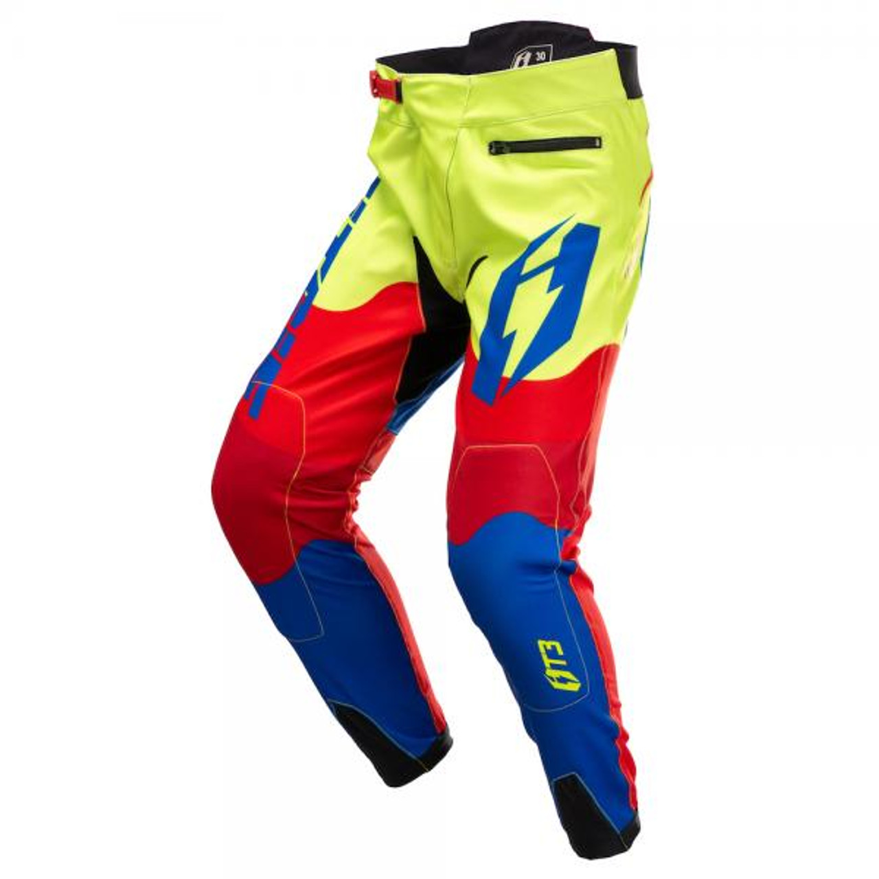 Pants T3 Wave blue/ fluo yellow/ red