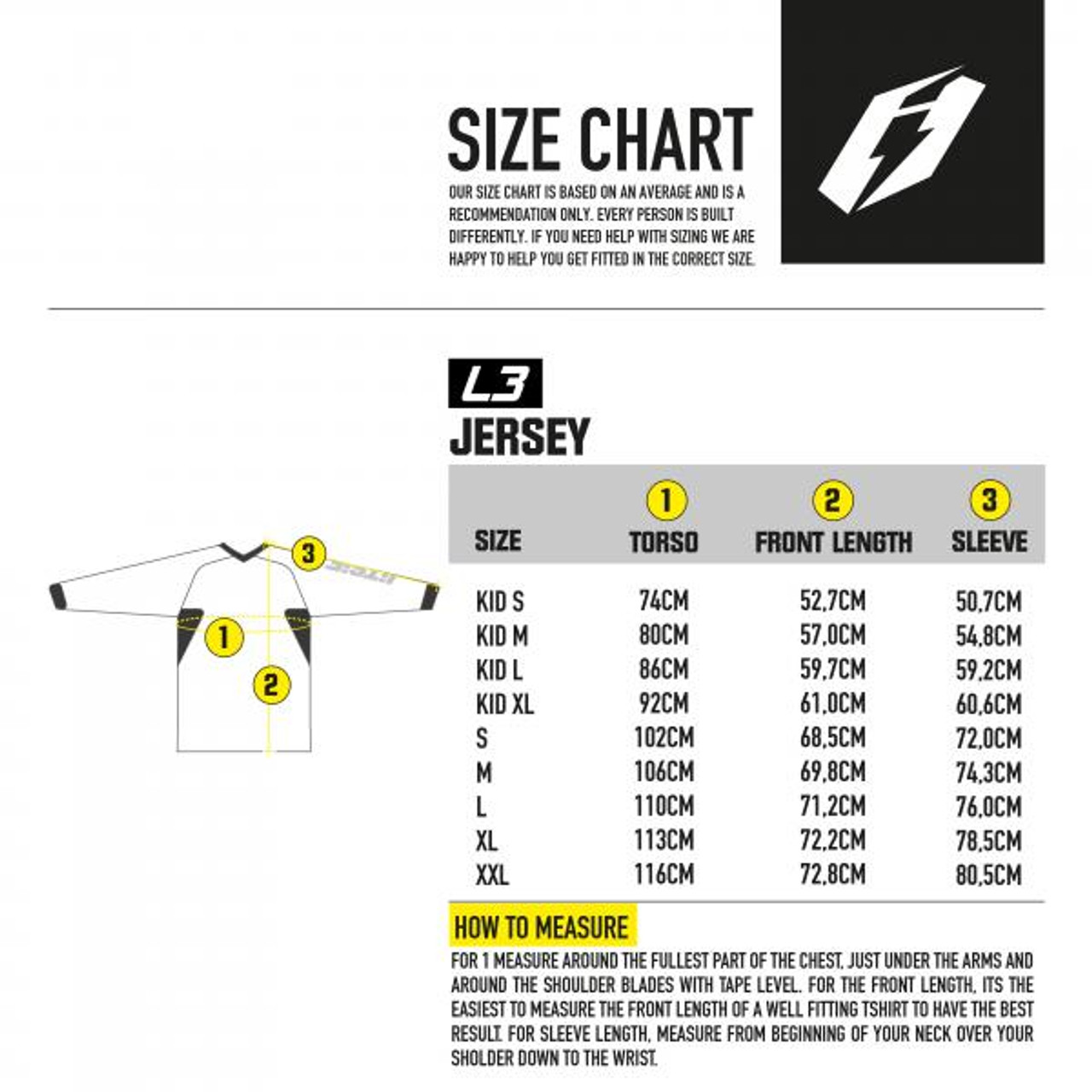 Kid's jersey sizing chart