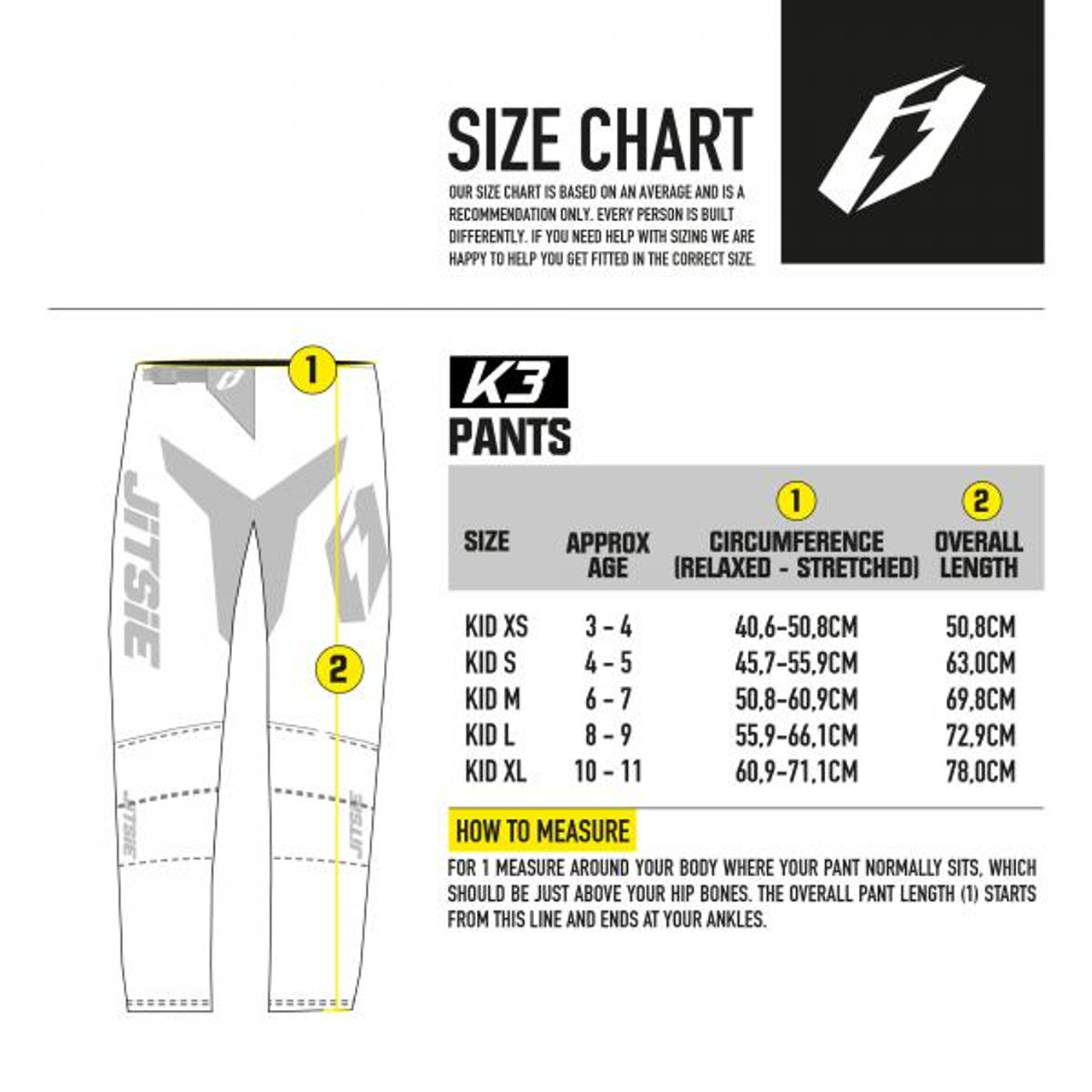 Kid's pants sizing chart