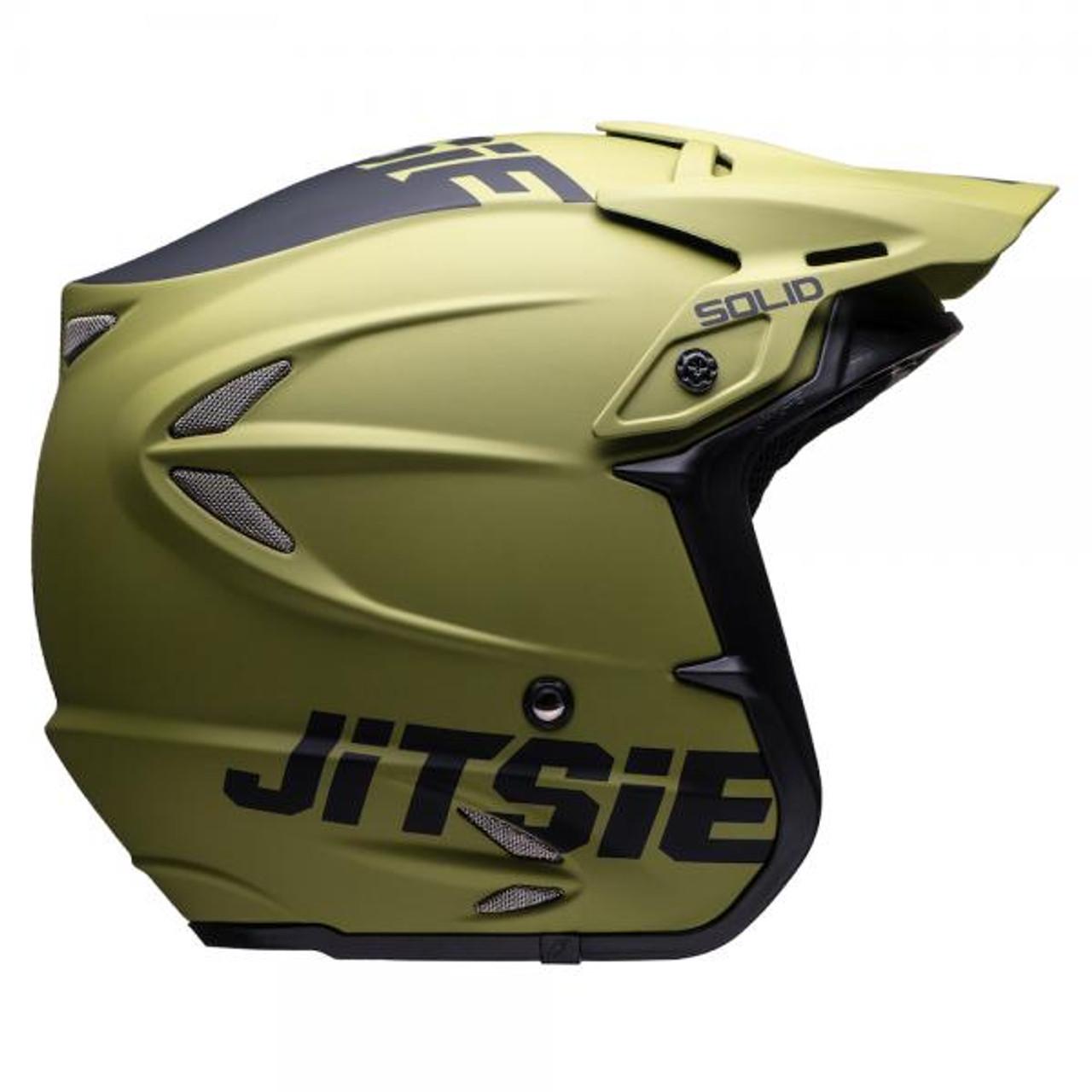 HT2 Solid helmet by Jitsie, matt khaki/ black, fiberglass