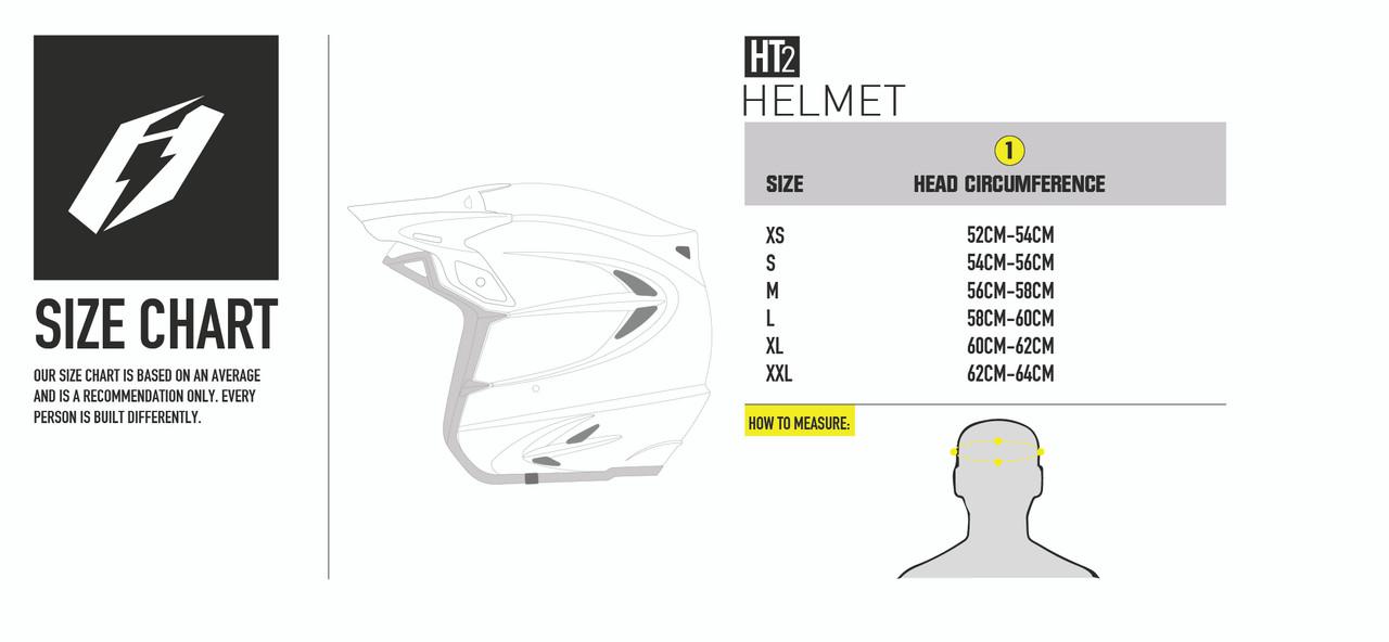 HT2 helmet sizing chart
