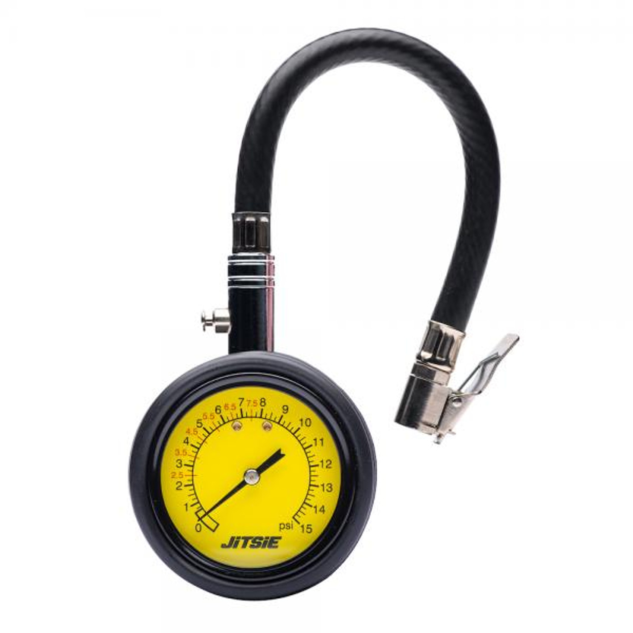 Analog tire pressure meter with hose , 0-15PSI