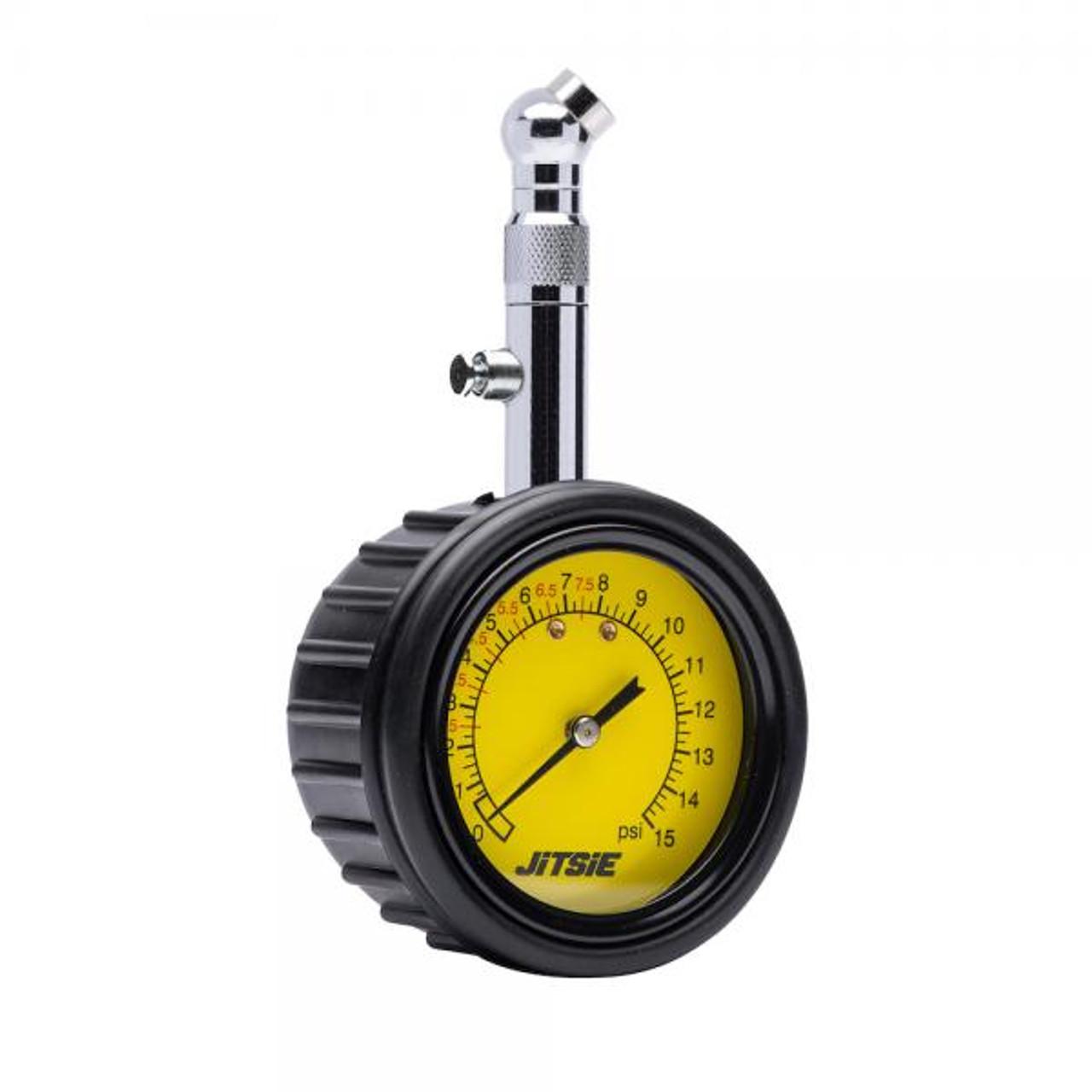 Analog tire pressure meter with valve, 0- 15PSI