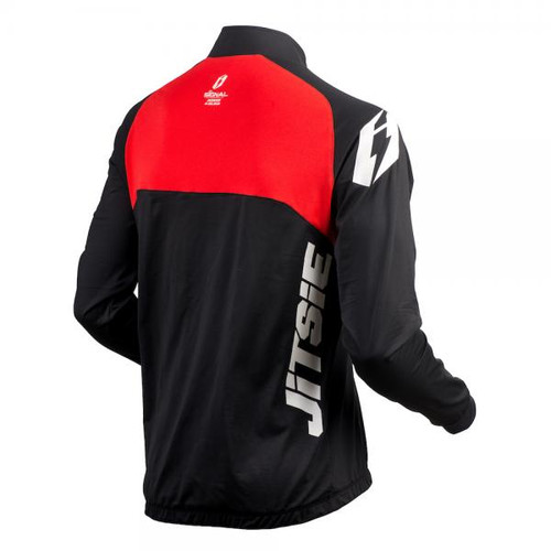 Black/ red kid's trials jacket by Jitsie, Signal design