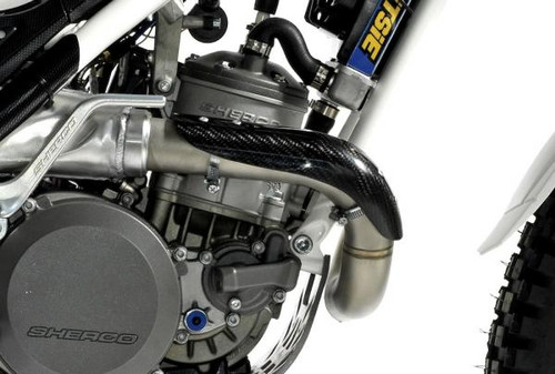 Carbon fiber exhaust pipe protector, Sherco
