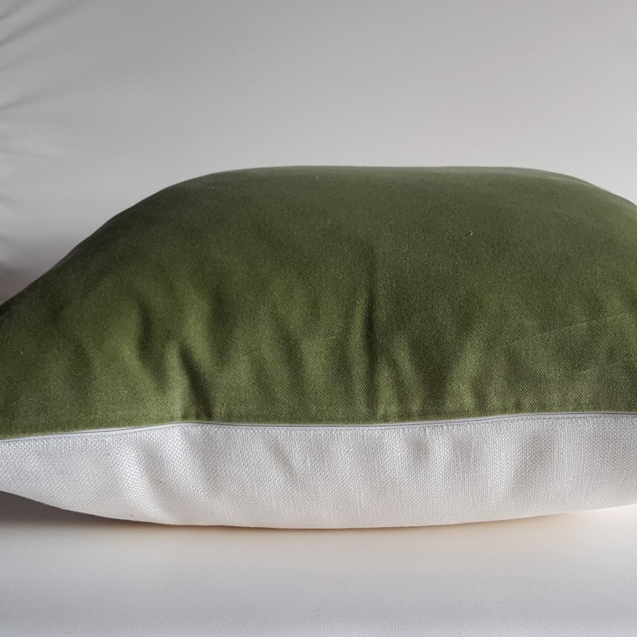 Velvet And Linen Cushion Cover Olive Green Ivory 47x47 Cm