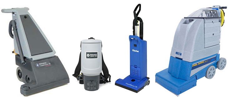 Carpet cleaning equipment on a white background