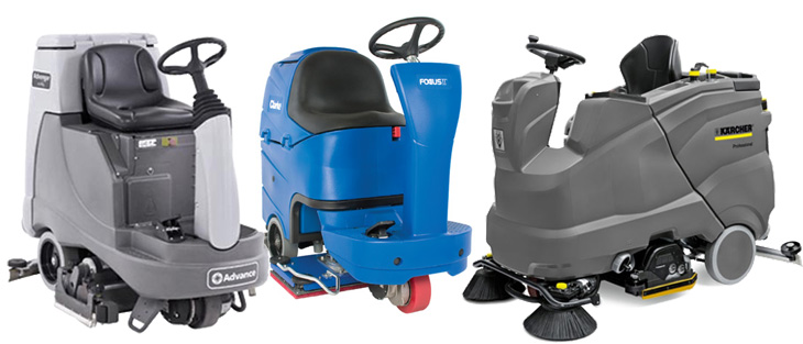 refurbished rider scrubbers on a white background