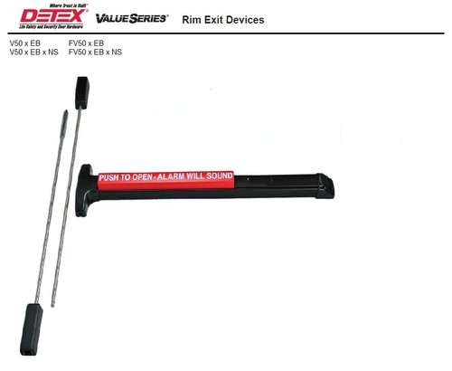 Detex V50xEBx711 Rim Exit Device - Standard and Fire Rated, Alarm, Vertical Rods, Wide and Narrow Stile