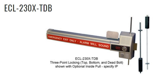 The ECL-230X is a code compliant, battery alarmed, rugged dead bolt, panic device with photo-luminescent sign providing maximum security and a 100 decibel alarm for secondary exits.