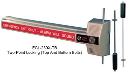 Detex ECL 230X TD/TB Models - Commercial Rim Exit Device (with Alarm & Vertical Rods)