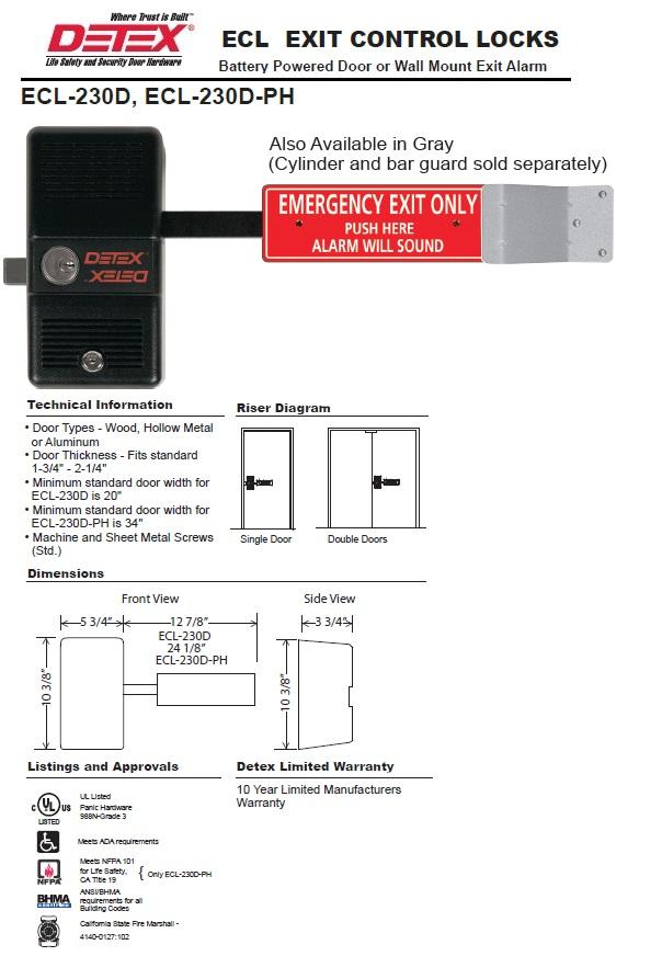 Detex Ecl 230d Emergency Exit Door Alarm Door Security Alarm