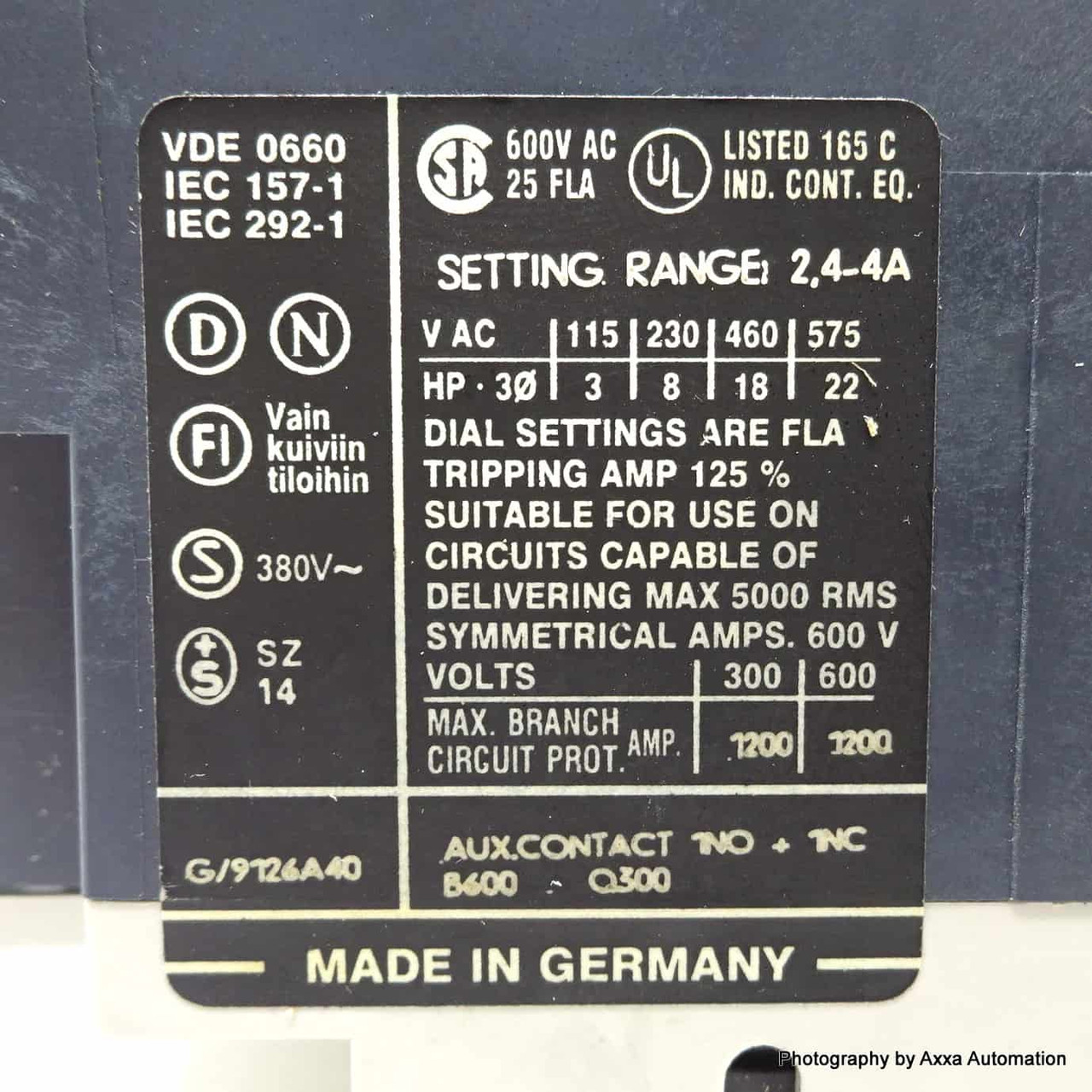 Siemens moteur disjoncteur 2,4-4a 3vu1300-1tj00
