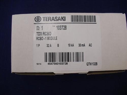 RCBO 103728 Terasaki 1P+N 32A 30mA Type B 10KA 240VAC TD3RCBO103230MA1BAC