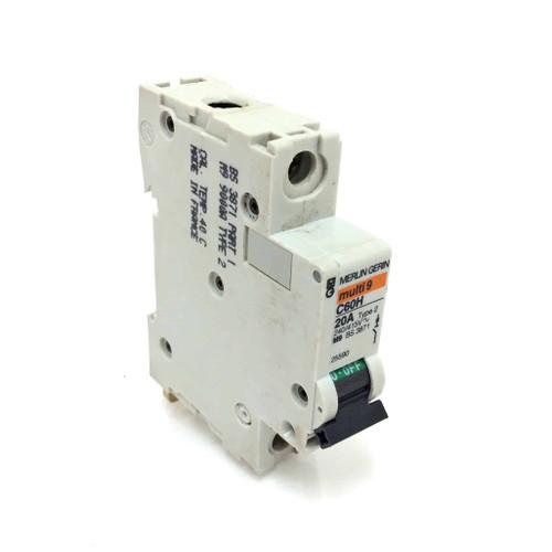 1 Pole Circuit Breaker C60H-20A Type 2 Merlin Gerin Multi 9 C60H20A  *New*