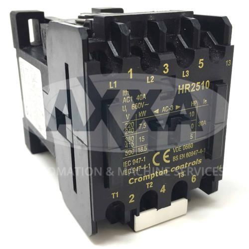 Contactor HR2510-110 Brook Crompton 110VAC 15kW 1NO HR2510