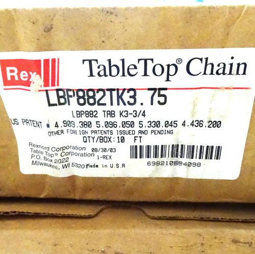 Table Top Chain LBP882TK3.75 Rexnord 10FT 698210694098
