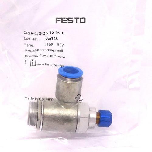 Flow Control Valve GRLA-1/2-QS-12-RS-D Festo One-way